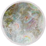 Round Beach Towel featuring the painting Twin Spica by Eva Konya