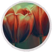 Twin Tulips Round Beach Towel