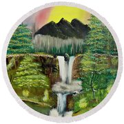 Twin Waterfalls Round Beach Towel