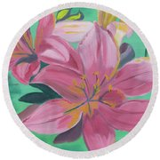 Round Beach Towel featuring the painting Twinkle Petals by Meryl Goudey