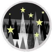 Twinkle Night Round Beach Towel