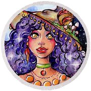 Twinkle Witch Round Beach Towel by Nada Meeks