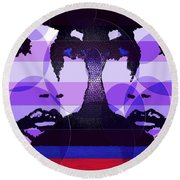 Twins In Purple Round Beach Towel