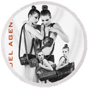 Twins Model Agency Round Beach Towel