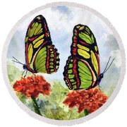 Round Beach Towel featuring the painting Twins by Sam Sidders