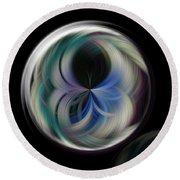 Round Beach Towel featuring the photograph Twirl Line Orb by Judy Wolinsky