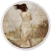 Twirling Painted Lady Round Beach Towel