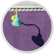 Round Beach Towel featuring the photograph Twisted Lamp And Shadow by Gary Slawsky