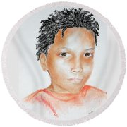 Twists, At 9 -- Portrait Of African-american Boy Round Beach Towel