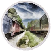Twixt The Trains Round Beach Towel by Roberta Byram