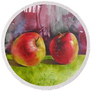 Round Beach Towel featuring the painting Two Apples by Elena Oleniuc