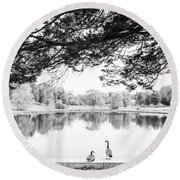 Round Beach Towel featuring the photograph Two At The Pond by Karol Livote