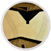Two Barns In Sepia Round Beach Towel