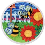 Two Bees With Red Flowers Round Beach Towel by Genevieve Esson