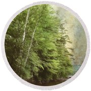 Two Birches Round Beach Towel