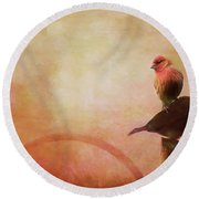 Two Birds In The Mist Round Beach Towel