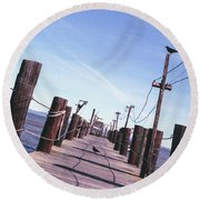 Two Birds On A Pier Round Beach Towel