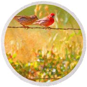 Two Birds On A Wire Round Beach Towel