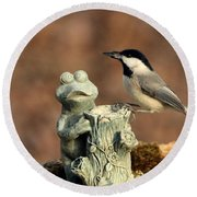 Two Black-capped Chickadees And Frog Round Beach Towel