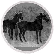 Round Beach Towel featuring the drawing Two Black Chinese Horses by Nareeta Martin