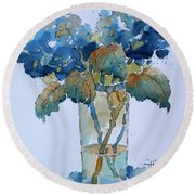 Two Blue Hydrangea Round Beach Towel