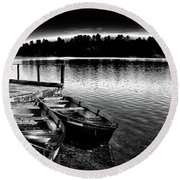Round Beach Towel featuring the photograph Two Boats by David Patterson