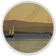 Two Boats Round Beach Towel by Inge Riis McDonald
