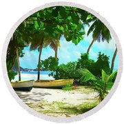 Two Boats On Tropical Beach Round Beach Towel