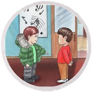 Two Boys At Music School Round Beach Towel