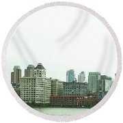 Round Beach Towel featuring the photograph Two Bridges by Robert Knight
