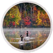 Two Canadian Geese Swimming In Autumn Round Beach Towel