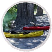 Round Beach Towel featuring the photograph Two Canoes At Medina River by Ella Kaye Dickey