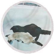 Two Cats In A Tub Round Beach Towel