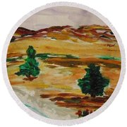 Two Cedars By The Sea Round Beach Towel