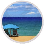 Round Beach Towel featuring the photograph Two Chairs And An Umbrella by James Eddy