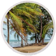 Two Chairs In Belize Round Beach Towel