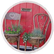 Two Chairs With Plants Round Beach Towel