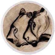 Two Chauvet Cave Lions - Clear Version Round Beach Towel