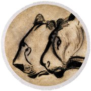 Two Chauvet Cave Lions Round Beach Towel