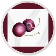 Two Cherries Round Beach Towel by Heidi Kriel
