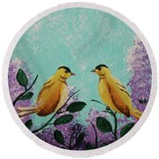 Two Chickadees Standing On Branches Round Beach Towel