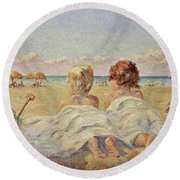 Two Children On The Beach Round Beach Towel