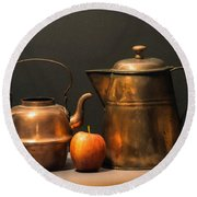Two Copper Pots And An Apple Round Beach Towel