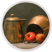 Round Beach Towel featuring the photograph Two Copper Pots Pomegranate And An Apple by Frank Wilson
