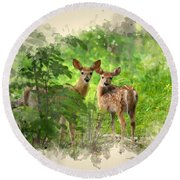 Two Deer Fawns Watercolor Art Round Beach Towel