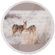 Two Deers Round Beach Towel
