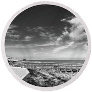 Two Directions At The Beach Round Beach Towel