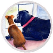 Two Dogs Looking Out A Window Round Beach Towel