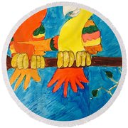 Two Double Yelloe Headed Birds Round Beach Towel