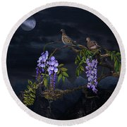 Mourning Doves In Moonlight Round Beach Towel